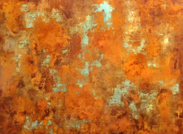 Original fine art abstract paintings with rust and copper patina