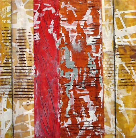 Abtract art Encaustic painting and screen printing on wood panel for sale