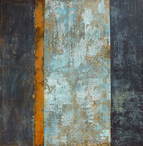 Fine art encaustic abstract contemporary painting bronze rust patina