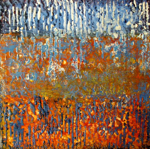 encaustic fine art orange blue abstract paiting on wood