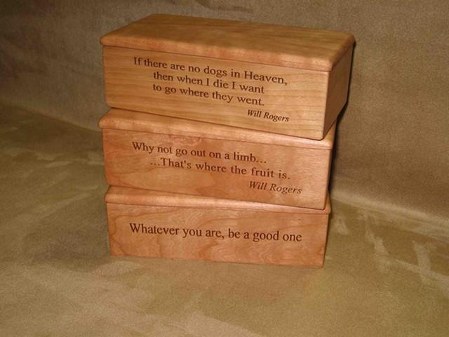 Chris Kamm glarner design lyrical box series laser engraved cherry wood boxes