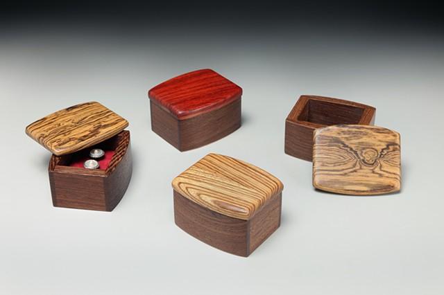 Chris Kamm Glarner Design small wood ring boxes hand polished sculptural