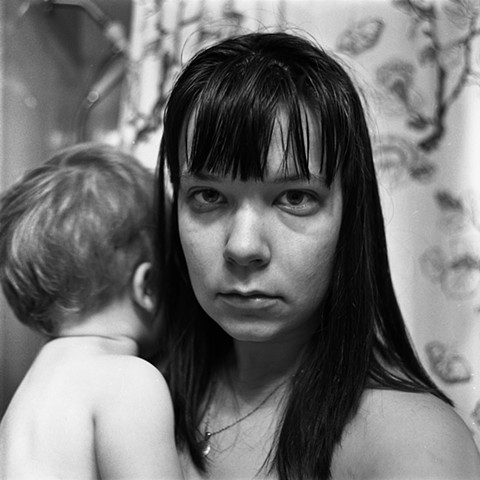 self portrait with child Black and white