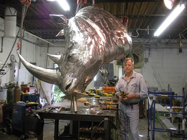 David Landis Rhino sculpture