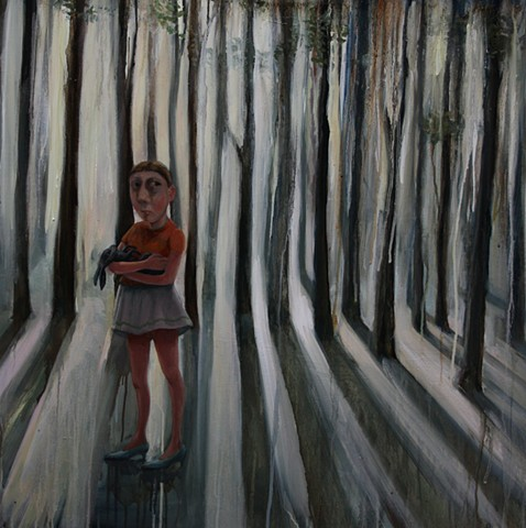 girl oil painting woods