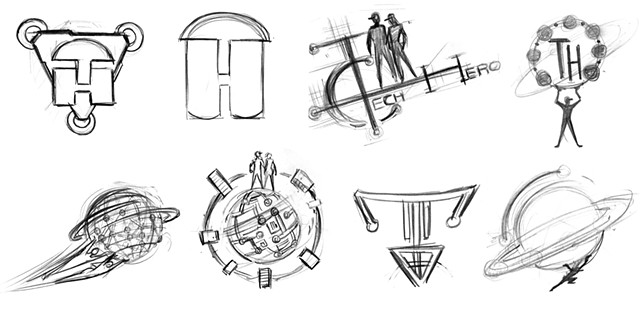 Tech Hero Early Logo Concept Sketches 4