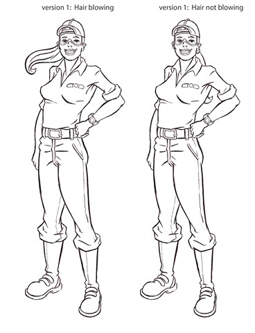 Tech Girl New pose final line drawing
