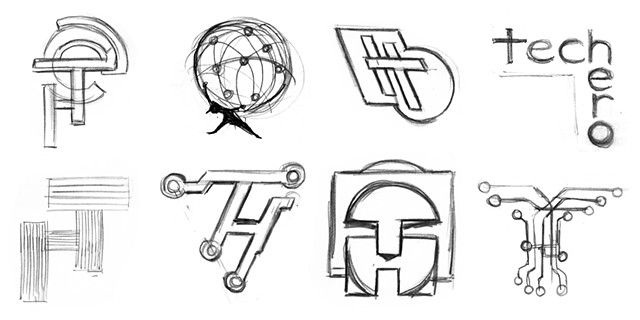Tech Hero Early Logo Concept Sketches 1