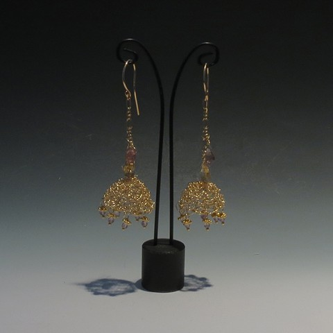 Gold-filled wire, Crochet Bell Earrings