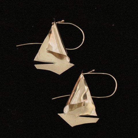 Hand Formed Sail Boat Earrings- Nu-gold