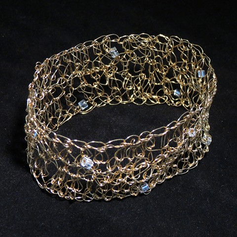 Hand Crocheted Embelished Cuff