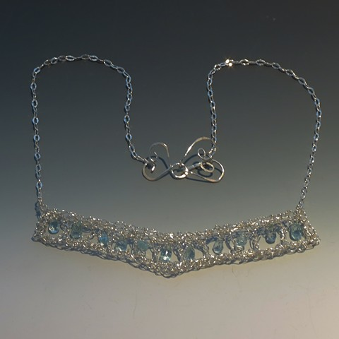 Silver Crocheted necklace with Aquamarine