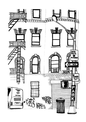 New York City Series, Broome Street, SOHO. Illustration by Dani Green