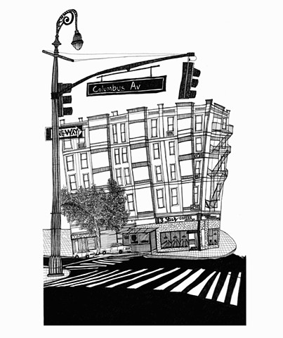 New York City Series, Columbus Av. Illustration by Dani Green