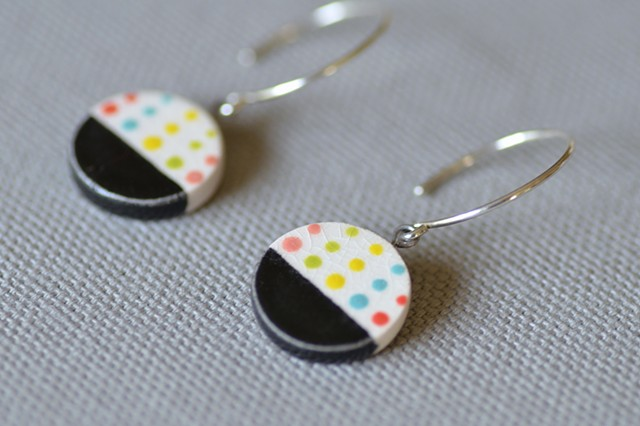 Dipped Earrings, Black and Dots