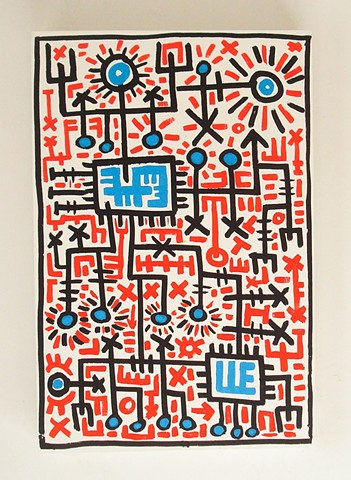 Pop folk art red blue primary colors line Keith haring Howard finster Dow Pugh Brett hunter