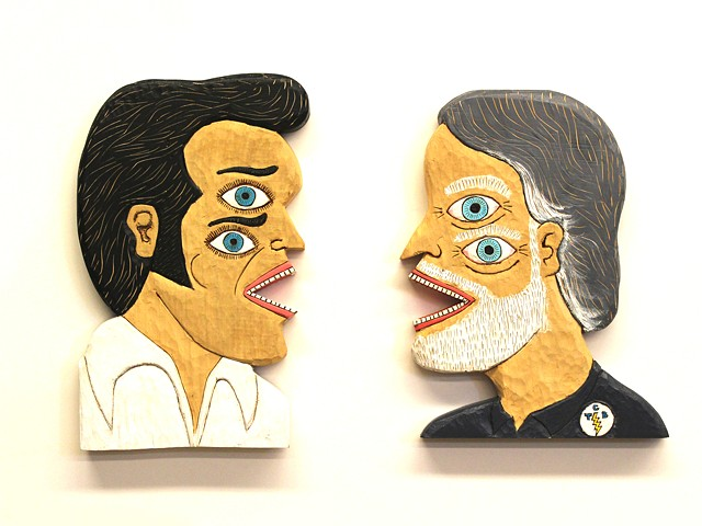 brett douglas hunter folk art outsider elvis presley art carved wood carving ralph burns asheville howard finster