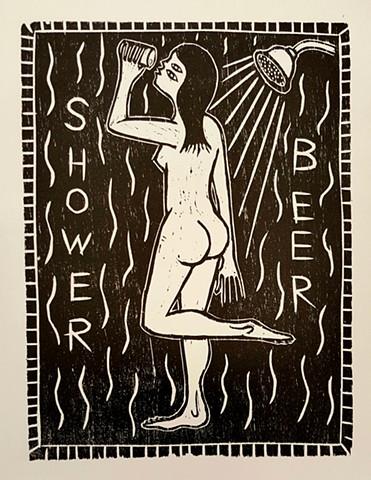 shower beer brett hunter folk art printmaking woodcut wood block relief print