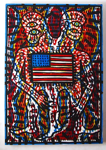 Alien American flag folk art outsider psychedelic rainbow bullshit keith haring Howard finster Brett hunter artist
