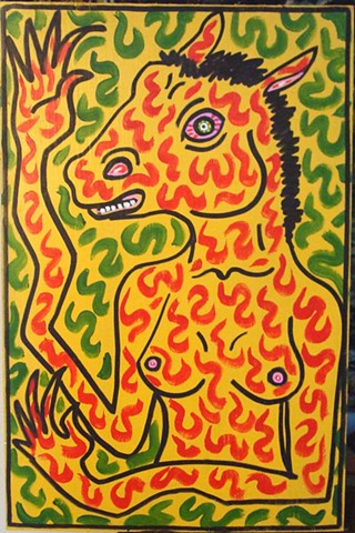 outsider art folk art bright color horse lady