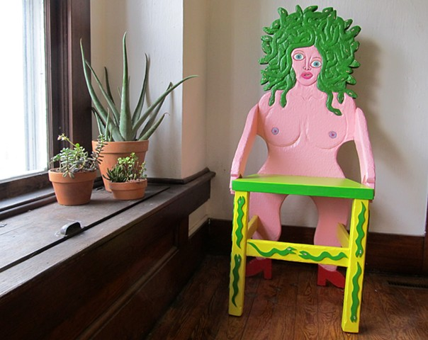 brett douglas hunter medusa chair folk art wood carving carved howard finster keith haring dow pugh