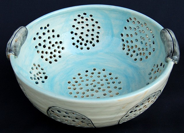 art, ceramics, thrown, collander, clay, hand made