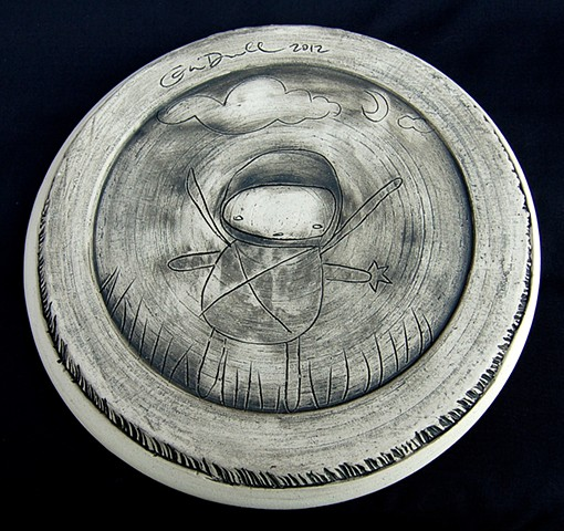 "Ninja on Succa 10"" thrown plate (bottom detail)"