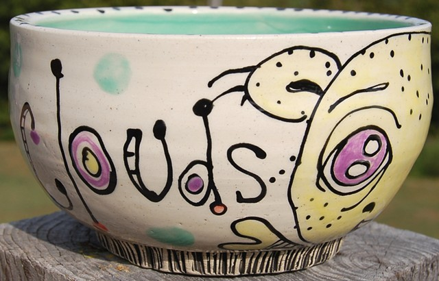 Happy Clouds Thrown Bowl (side detail)