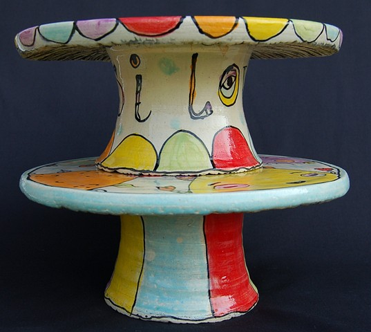 clay, ceramics, cake pedestal, wheel thrown, creatures, hand made, hand carved, hand drawn
