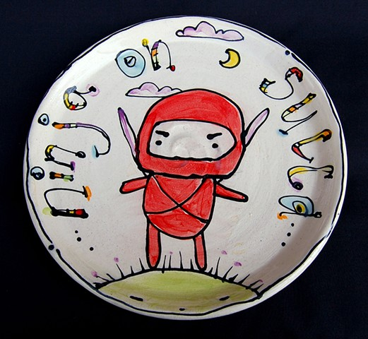 clay, ceramics, plate, wheel thrown, creatures, hand made, hand carved, hand drawn