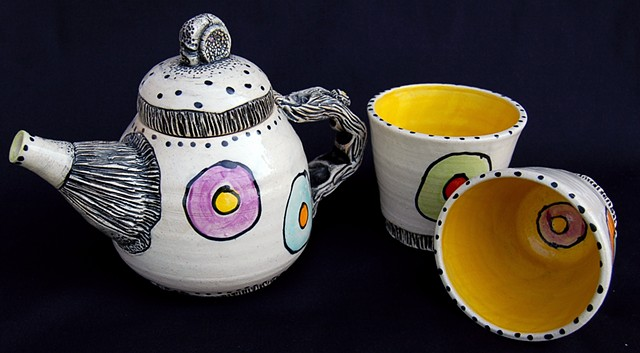 clay, ceramics, cup, teapot, teaset, wheel thrown, creatures, hand made, hand carved, hand drawn