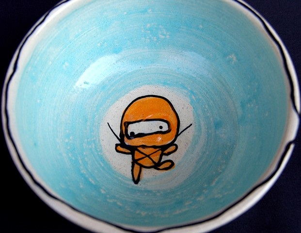 Ninja Party Thrown Bowl (inside detail)