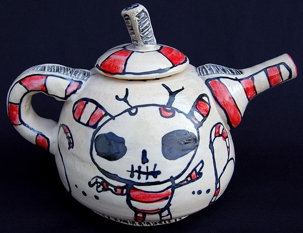 clay, ceramics, cup, teapot, wheel thrown, creatures, hand made, hand carved, hand drawn