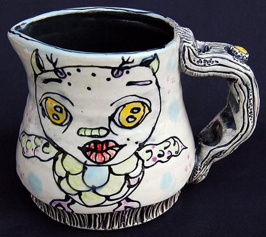 clay, ceramics, pitcher, wheel thrown, creatures, hand made, hand carved, hand drawn