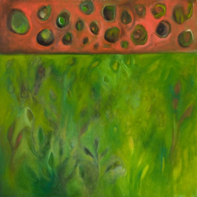 Seed pod disco, oil and charcoal on canvas by Morgan Johnson Norwood