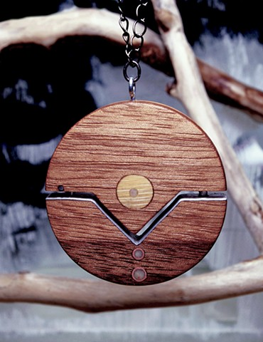 Round Wooden Pendant from Reclaimed Materials