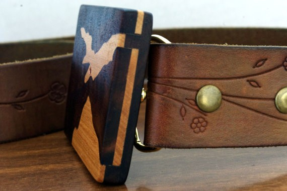 Wood Belt Buckle Made with Recycled Wood and Copper tubing. Bird Inlay