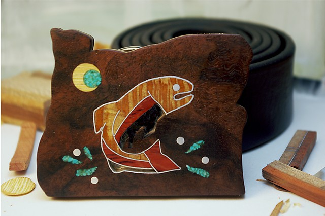 *Wood Belt Buckle handcrafted from scrap materials with fish inlay*