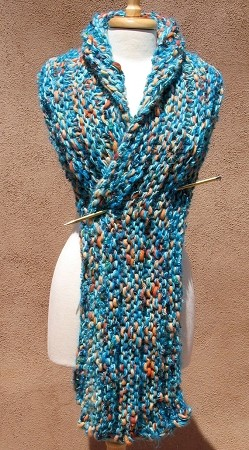 Oversized and Cozy Hand Knitted Scarf Turquoise
