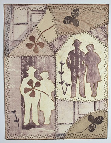 Paper Quilt with sillhouettes from found photographs, mixed media printmaking