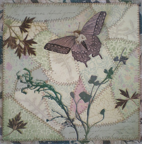 found photograph, butterfly, mixed media printmaking, paper quilt