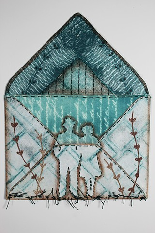 Mixed media printmaking, envelope house motif