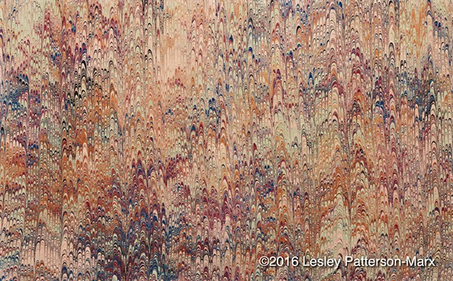 "Historical matching of Victorian era marbled paper for ""The Lost Sermons of C.H. Spurgeon, Volume II"" by Lesley Patterson-Marx"