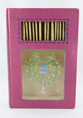 Espalier tree, altered book art, Lesley Patterson-Marx, mixed media