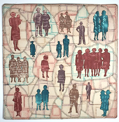 Paper Quilt with sillhouettes from found photographs