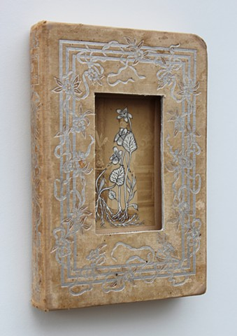 found book sculpture, drawing on found photograph
