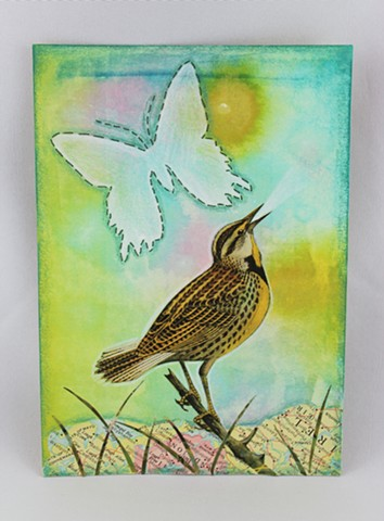 Mixed media, meadowlark, Lesley Patterson-Marx