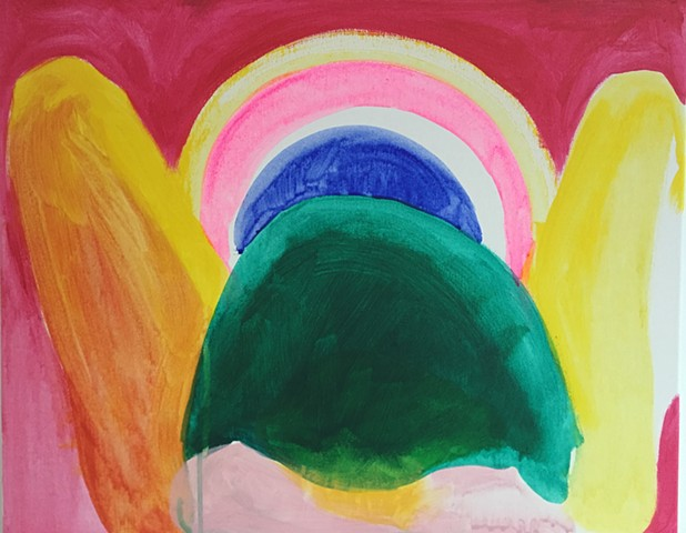 Painting about childbirth and healing visions experienced during meditation.