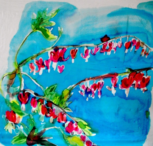 painting of bleeding heart flowers