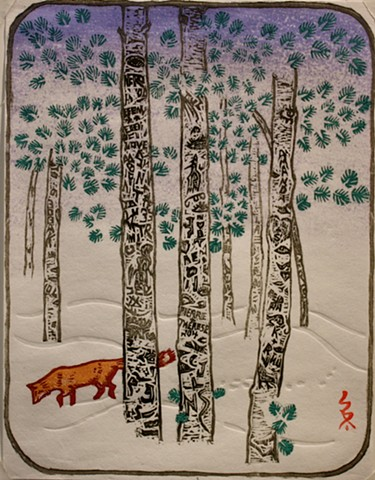 Aspen trees, snow, fox, graffiti,  japanese woodcut
